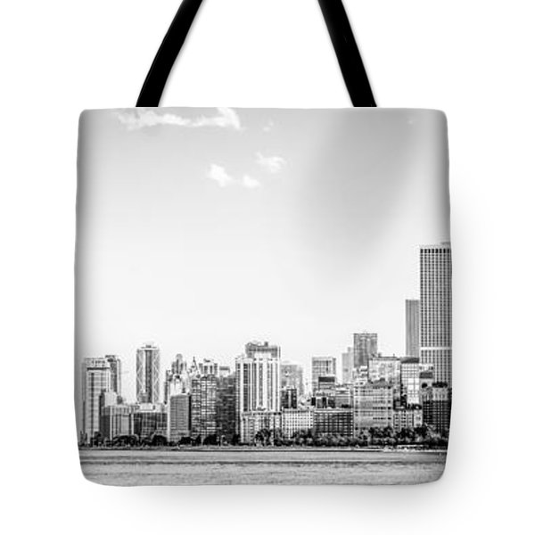North Chicago Skyline Panorama In Black And White Tote Bag by Paul Velgos