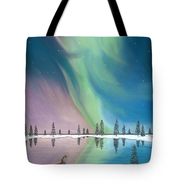 Northern Lights The Wolf And The Comet  Tote Bag by Jackie Novak