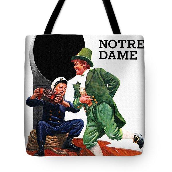 Notre Dame V Navy 1954 Vintage Program Tote Bag by Big 88 Artworks