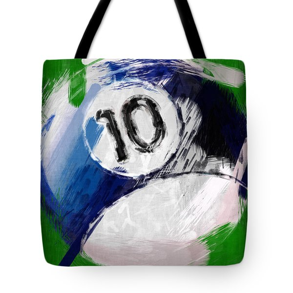 Number Ten Billiards Ball Abstract Tote Bag by David G Paul