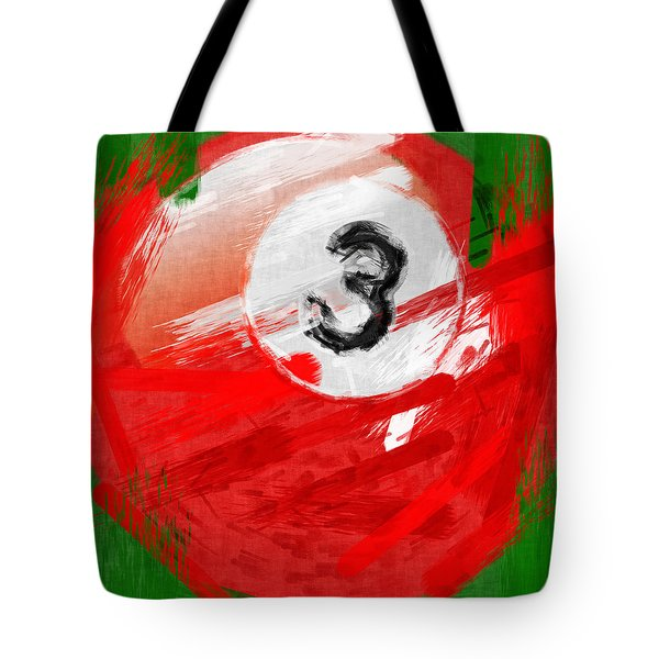 Number Three Billiards Ball Abstract Tote Bag by David G Paul
