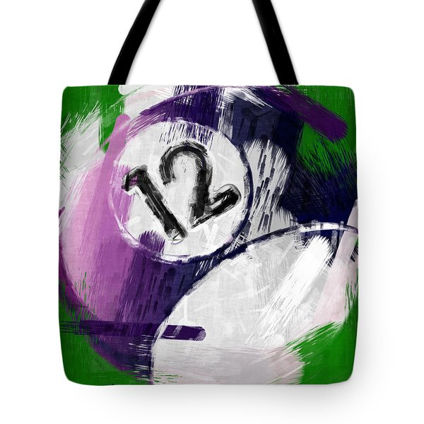 Number Twelve Billiards Ball Abstract Tote Bag by David G Paul