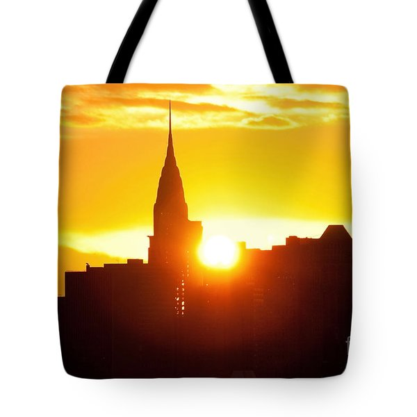 Ny Chrysler Building Sunrise Tote Bag by Regina Geoghan