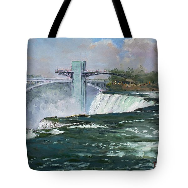 Observation Tower In Niagara Falls Tote Bag by Ylli Haruni