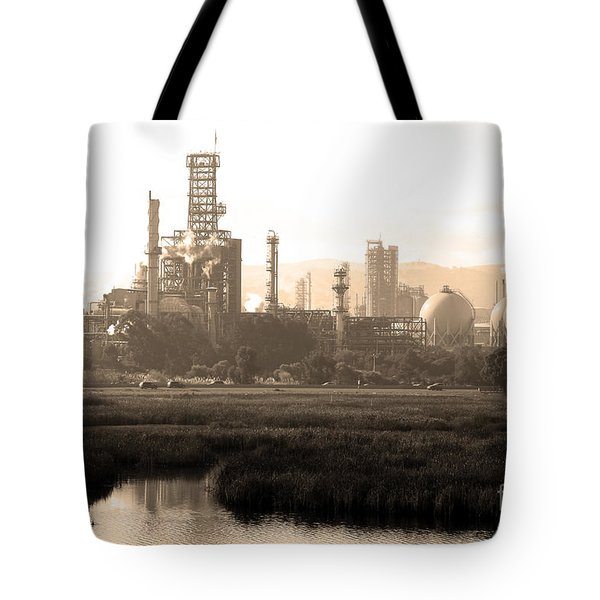 Oil Refinery Industrial Plant In Martinez California . 7D10364 . sepia Tote Bag by Wingsdomain Art and Photography