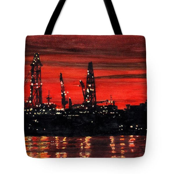 Oil Rigs Night Construction Portland Harbor Tote Bag by Dominic White