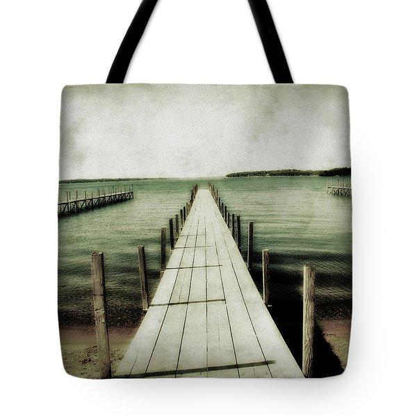 Okoboji Docks Tote Bag by Julie Hamilton