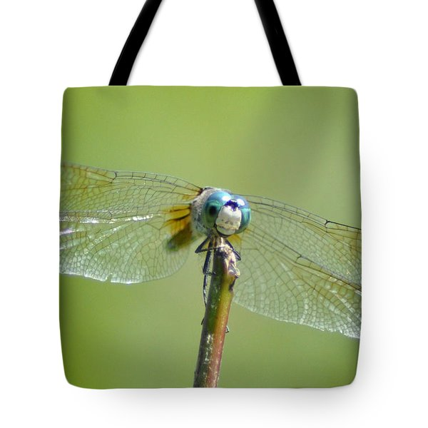 Old Blue Eyes - Blue Dragonfly Tote Bag by Bill Cannon