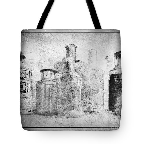 Old Bottles With Texture  Bw Tote Bag by Barbara Henry