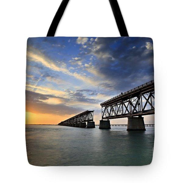 Old Bridge Sunset Tote Bag by Eyzen M Kim