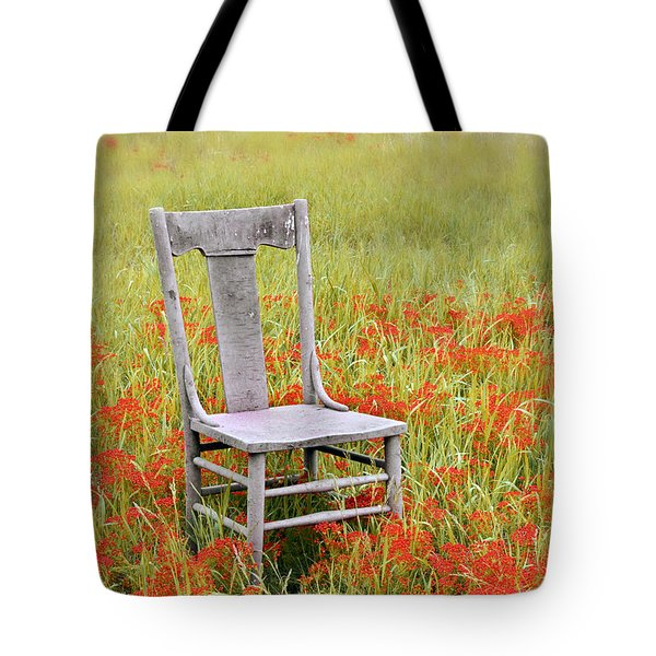 Old Chair In Wildflowers Tote Bag by Jill Battaglia