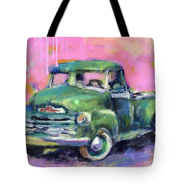 Old Chevy Chevrolet Pickup Truck On A Street Tote Bag by Svetlana Novikova