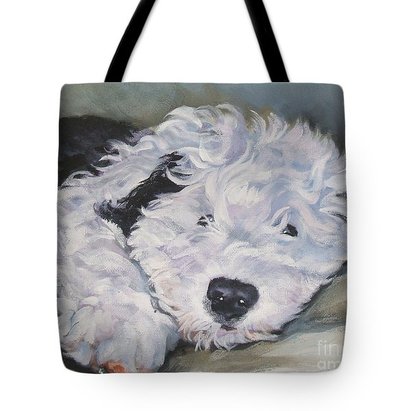 Old English Sheepdog Pup Tote Bag by Lee Ann Shepard