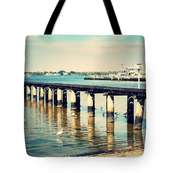Old Fort Myers Pier With Ibises Tote Bag by Carol Groenen