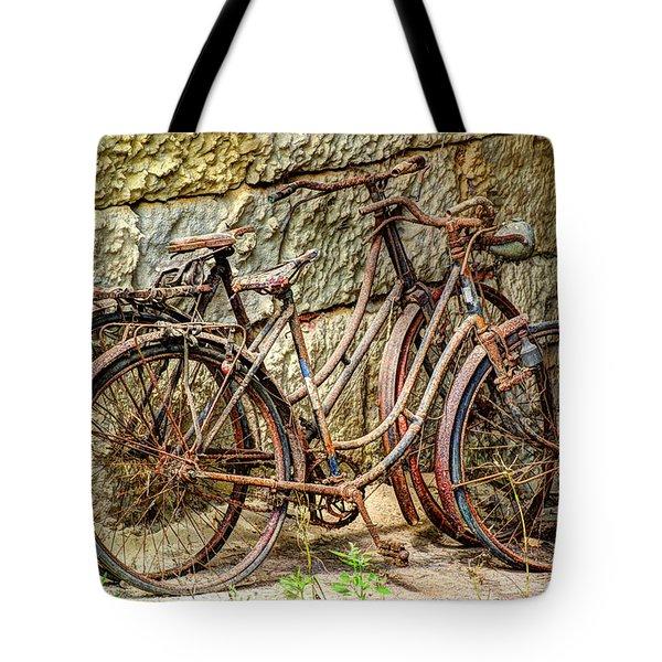 Old French Bicycles Tote Bag by Debra and Dave Vanderlaan