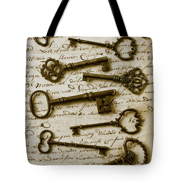 Old keys on letter Tote Bag by Garry Gay