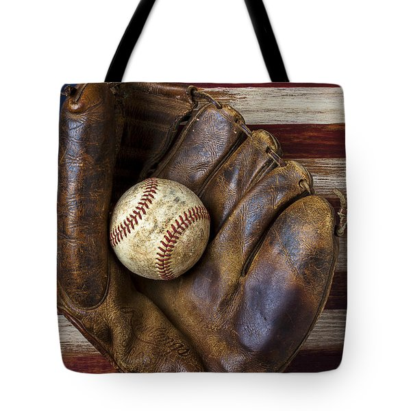 Old mitt and baseball Tote Bag by Garry Gay