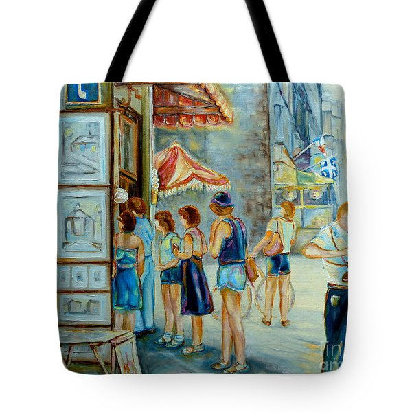 Old Montreal Street Scene Tote Bag by Carole Spandau