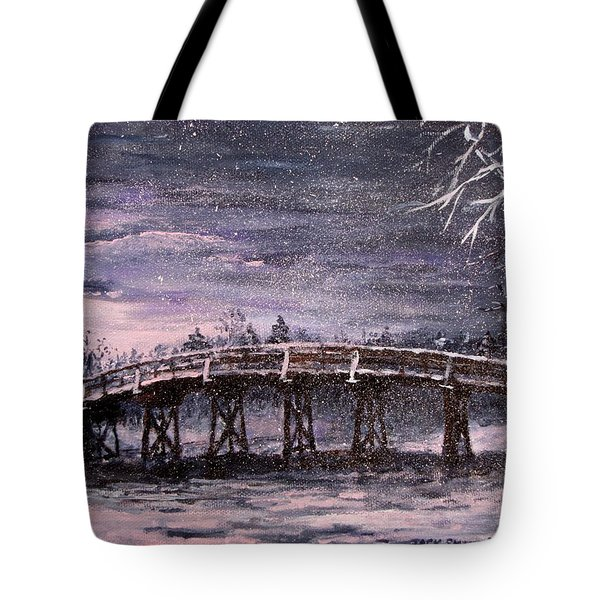 Old North Bridge in Winter Tote Bag by Jack Skinner