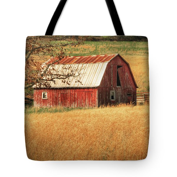 Old Red Barn Tote Bag by Tamyra Ayles