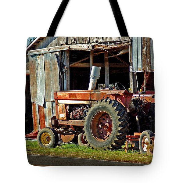 Old Red Tractor And The Barn Tote Bag by Michael Thomas