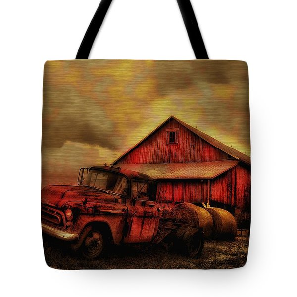 Old Red Truck And Barn Tote Bag by Bill Cannon