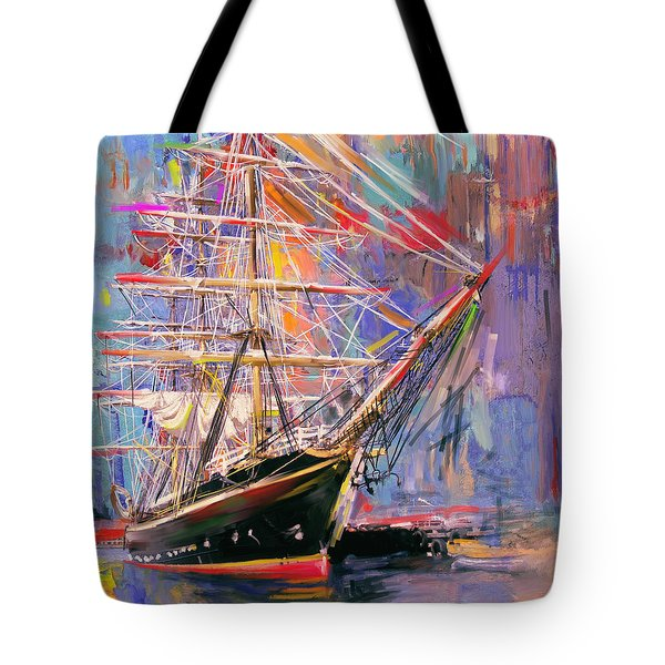 Old Ship 226 4 Tote Bag by Mawra Tahreem