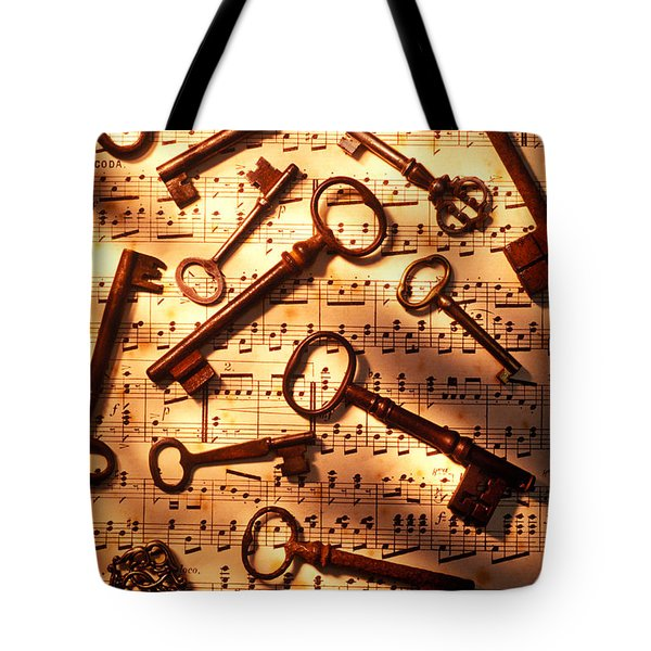 Old skeleton keys on sheet music Tote Bag by Garry Gay