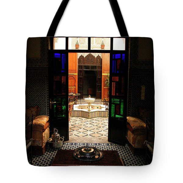 Old Traditional Riad In Fez Tote Bag by Ralph A  Ledergerber-Photography