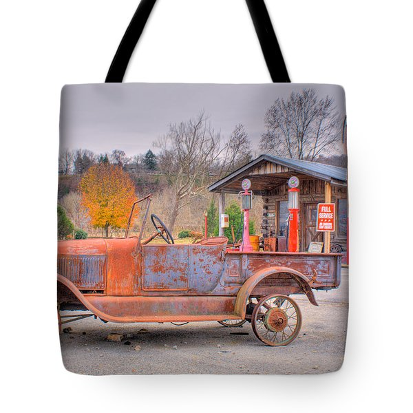 Old Truck and Gas Filling Station Tote Bag by Douglas Barnett