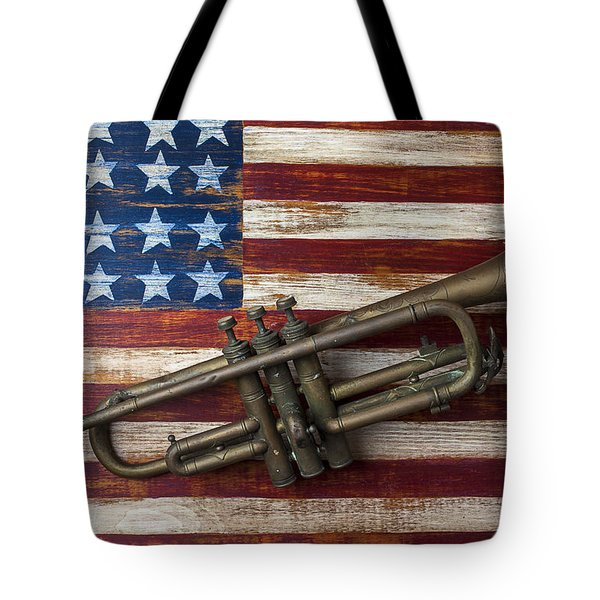 Old trumpet on American flag Tote Bag by Garry Gay