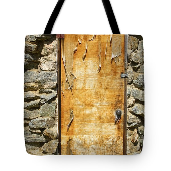 Old Wood Door And Stone - Vertical  Tote Bag by James BO  Insogna