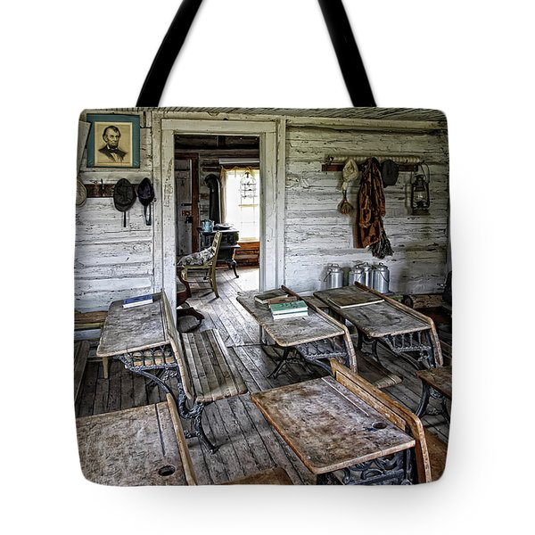 OLDEST SCHOOL HOUSE c. 1863 - MONTANA TERRITORY Tote Bag by Daniel Hagerman