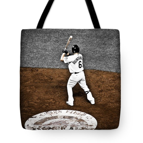 Omar Quintanilla Pro Baseball Player Tote Bag by Marilyn Hunt