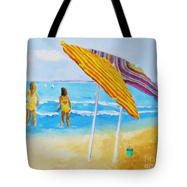 Tote Bag featuring the painting On The Beach by Rodney Campbell