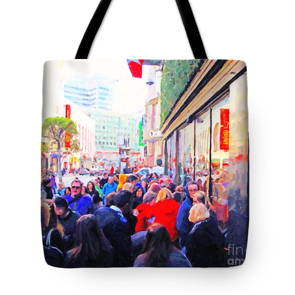 On The Day Before Christmas . Stockton Street San Francisco . Photo Artwork Tote Bag by Wingsdomain Art and Photography
