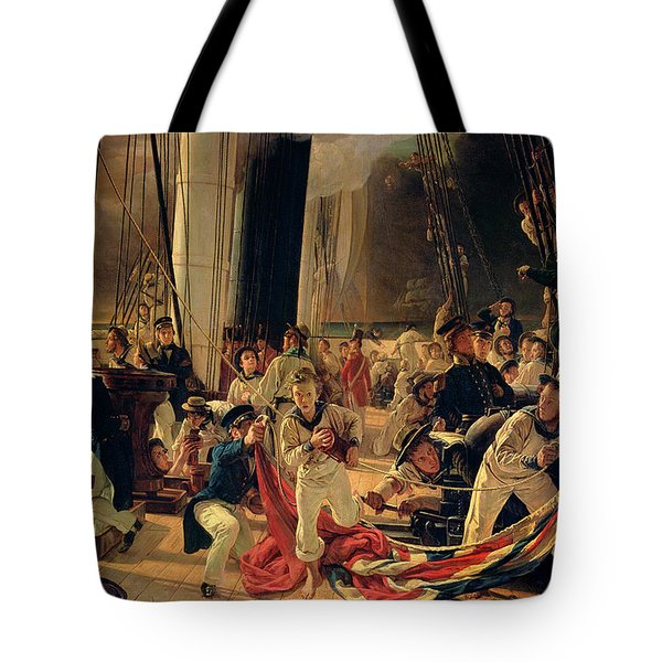 On The Deck During A Sea Battle Tote Bag by Francois Auguste Biard