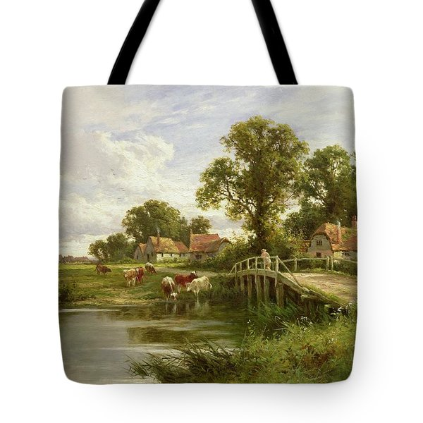 On The Thames Near Marlow Tote Bag by Henry Parker