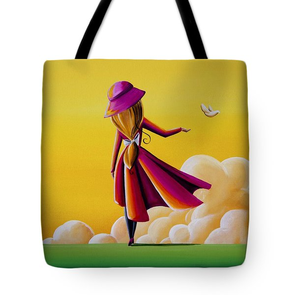 On The Wings Of A Dove Tote Bag by Cindy Thornton