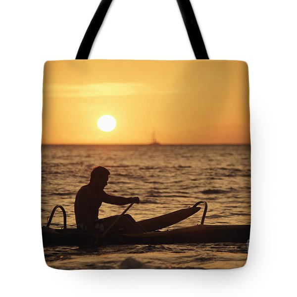 One Man Canoe Tote Bag by Sri Maiava Rusden - Printscapes