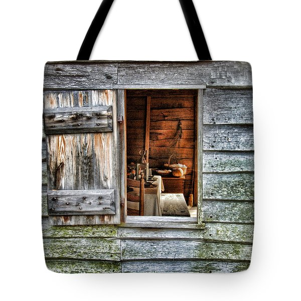 Open Window In Pioneer Home Tote Bag by Jill Battaglia