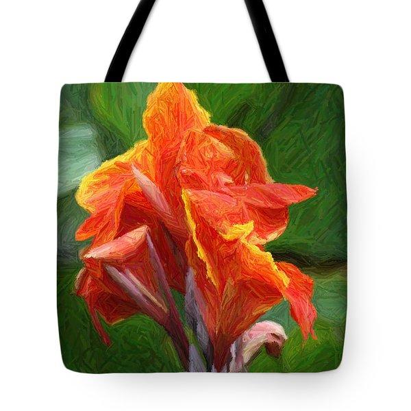 Orange Canna Art Tote Bag by John W Smith III