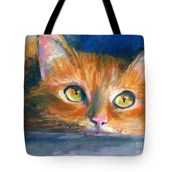 Orange Tubby Cat painting Tote Bag by Svetlana Novikova