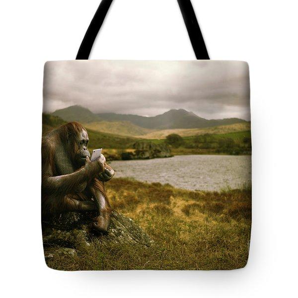 Orangutan With Smart Phone Tote Bag by Amanda Elwell