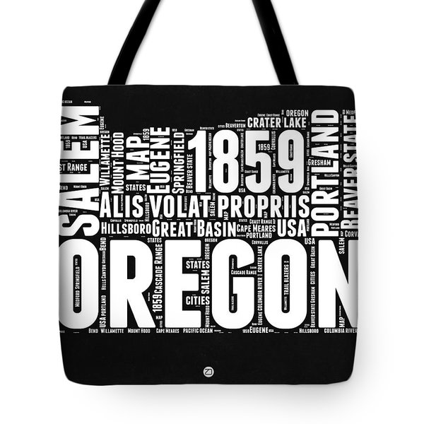Oregon Black And White Map Tote Bag by Naxart Studio