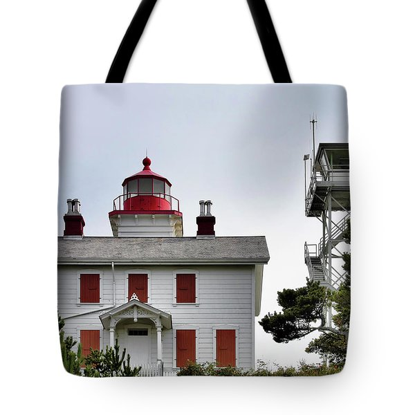 Oregon's Seacoast Lighthouses - Yaquina Bay Lighthouse - Old And New Tote Bag by Christine Till