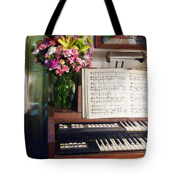 Organ And Bouquet Of Flowers Tote Bag by Susan Savad