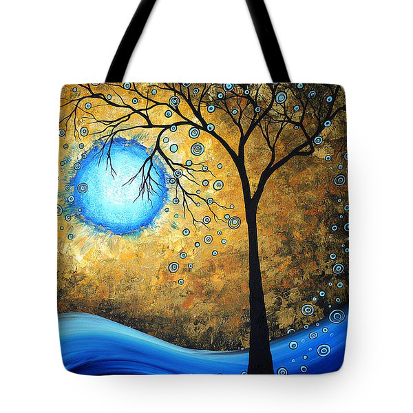 Orginal Abstract Landscape Painting Blue Fire By Madart Tote Bag by Megan Duncanson