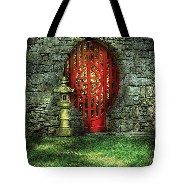 Orient - Door - The Moon Gate Tote Bag by Mike Savad