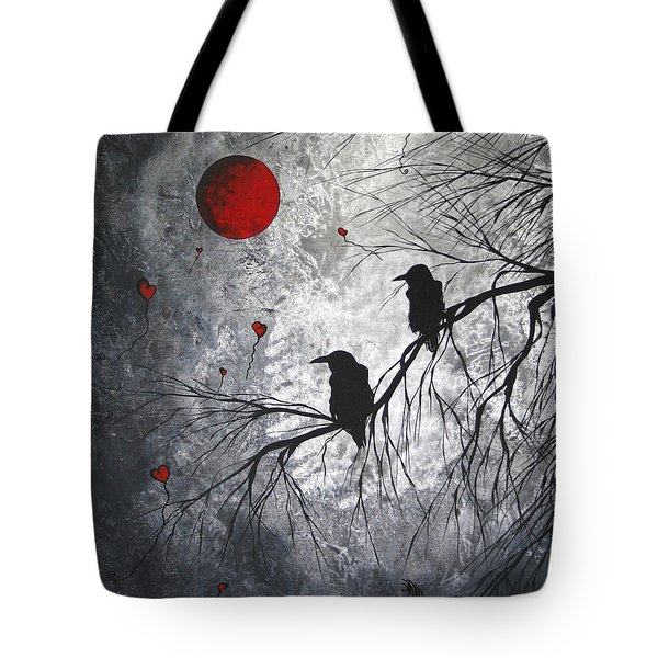 Original Abstract Surreal Raven Red Blood Moon Painting The Overseers By Madart Tote Bag by Megan Duncanson